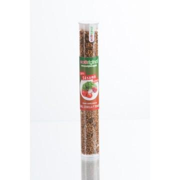 Sésamo ecológico caramelizado con kalé, cebolla y tomate
