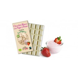 Chocolate blanco con yogurt y fresas. 100g